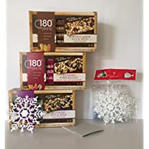 GLUTEN FREE: 180 Snacks GF Variety Bundle: 3 Boxes of 5 Individual Wrapped Bars 1-Almond Cashew Nut & Seed, 1-Blueberry Nut & Seed & 1-GF Cranberry Pomegranate+ Free Set of 5-Xmas Snowflakes and More