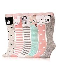 Color City Kids Girls Socks Knee High Stockings Cartoon Animal Theme Cotton Socks (6 Pairs)