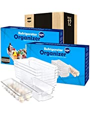 KICHLY (Set of 6) Pantry Organizer - Include 6 Organizer 5 Drawers & 1 Egg Holding Tray, Stackable Fridge Organizers for Freezer, Kitchen, Countertops, Cabinets