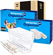 KICHLY (Set of 6) Pantry Organizer - Include 6 Organizer 5 Drawers & 1 Egg Holding Tray, Stackable Fridge