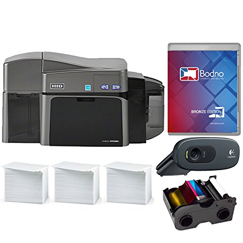 Fargo DTC1250e Dual Sided ID Card Printer & Complete Supplies Package with Bodno Software