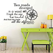"BATTOO Two Roads Diverged Vinyl Wall Lettering - Robert Frost Vinyl Wall Decals Inspirational Decal Quote(brown, 28""h x46""w)"