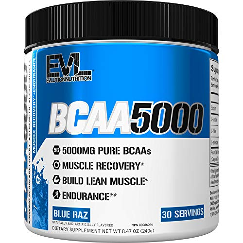Evlution Nutrition BCAA5000 Powder 5 Grams of Branched Chain Amino Acids (BCAAs) Essential for Performance, Recovery, Endurance, Muscle Building, Keto Friendly, No Sugar