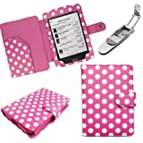 Xtra-Funky Exclusive Kobo Touch eReader PU Leather Book Wallet Style Case Includes Robotic Pop Up Clip on LED Light - POLKA PINK
