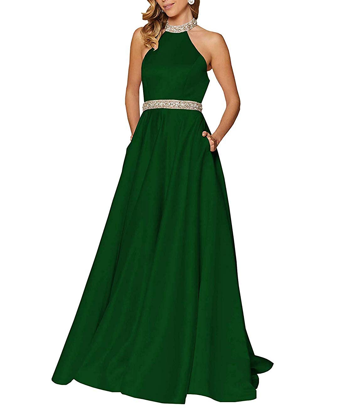 Dark Green RTTUTED Satin Beaded Long Prom Gown with Pockets for Formal Wedding Dress Evening