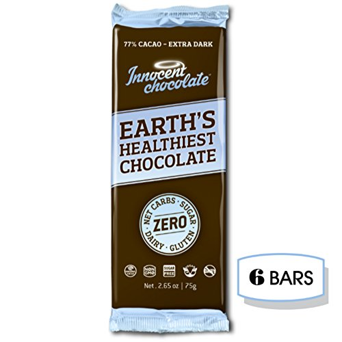 Innocent Chocolate - Dark Chocolate Bar - 100% Organic, Natural, and Allergen Free with Zero Net Carbs (77% Dark, 6 -