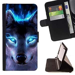 BullDog Case - FOR/HTC One M9 / - / wolf blue eyes neon bright light forest /- Monedero de cuero de la PU Llevar cubierta de la caja con el ID Credit Card Slots Flip funda de cuer