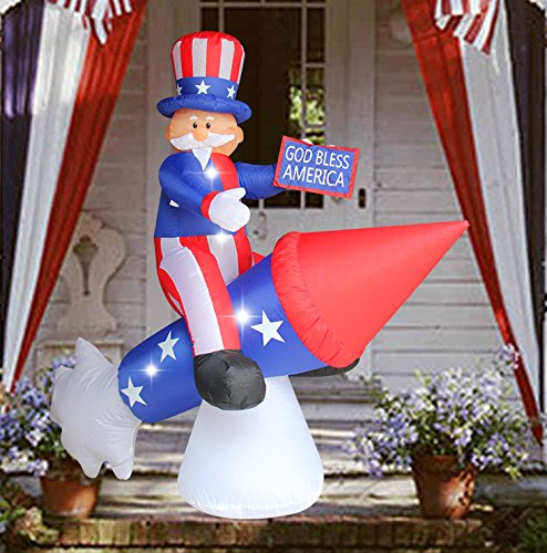 SEASONBLOW 6 Ft Patriotic Independence Day/Flag Day Inflatable Uncle Sam on Rocket Decorations 4th of July Home Yard Outdoor Indoor Decoration