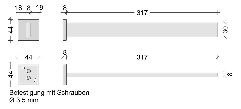 Design Handtuch-Auszug Bad Handtuchstange ausziehbar 1-armig TOWEL Handtuch-Reling f/ür die Wand-Montage 1 St/ück Wand-Handtuchhalter verchromt poliert Badetuchhalter mit Befestigungsmaterial