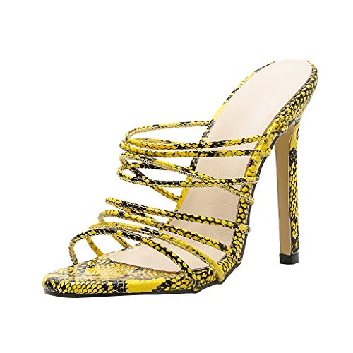 Women High Heeled Slipper Sandals Serpentine Printing Bar Party Shoes Yellow ()
