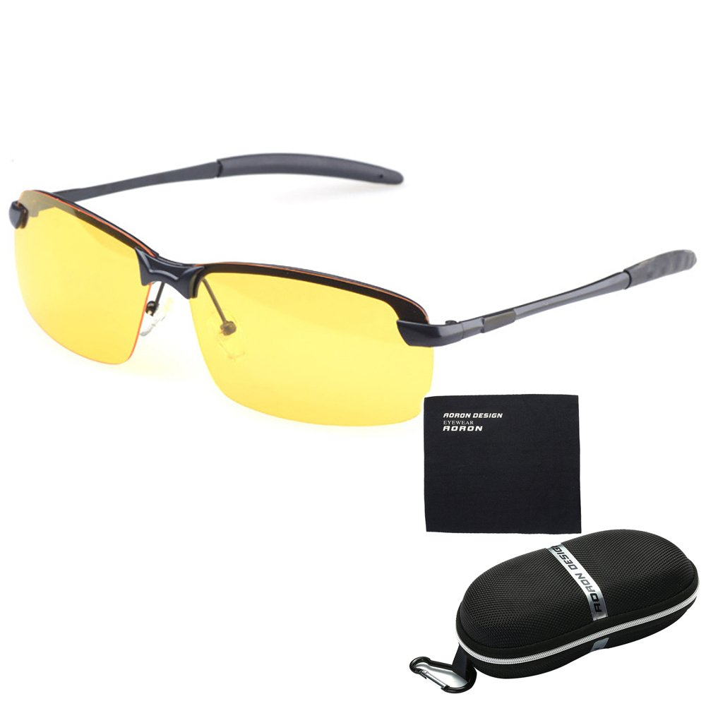 bd071a4f08 Pingenaneer HD Night Vision Sport Sunglasses   Anti-glare Men s Polarized  Sunglasses for Night Driving with Case and Cloth - Black  Amazon.co.uk   Kitchen   ...