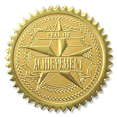 Seal of Achievement Embossed Gold Foil Certificate Seals, 2 Inch, Self Adhesive, 102 ()