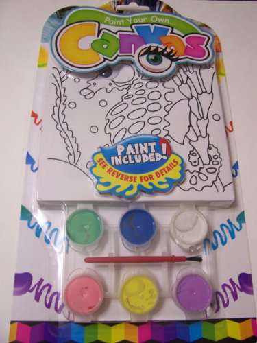 Paint Your Own Canvas Craft Kit ~ Seahorse (Includes 6 Paints, Paint Brush, Canvas with Wiggle Eyes)