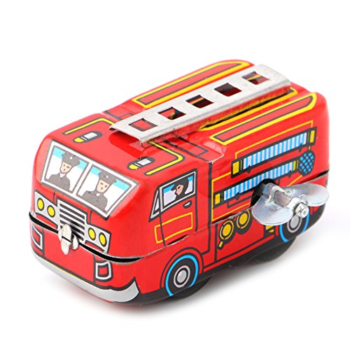 (Misright Children Vintage Fire Chief Firefighter Car Truck Clockwork Model Toys Gifts)