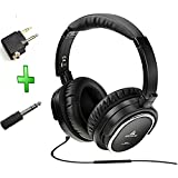 Acoustic Noise Cancelling Headphone,artiste On-earOver Ear Noise isolation Airline Headset Headphones (Black-Wired)with Airline Headphone Converter Mic