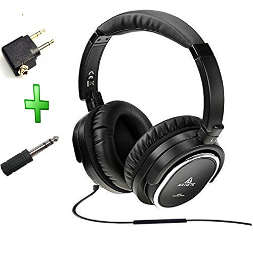 Acoustic-Noise-Cancelling-Headphoneartiste-On-earOver-Ear-Noise-isolation-Airline-Headset-Headphones-Black-Wiredwith-Airline-Headphone-Converter-Mic