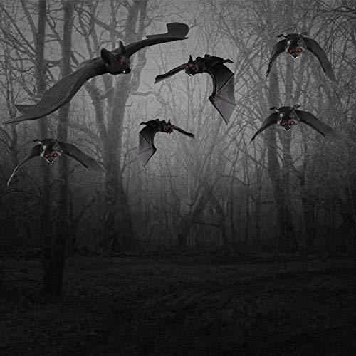 HAKACC Halloween Fledermäuse, 8 Stück Hängende Fledermäuse Realistische Gespenstische Fledermause Hängende Spuk-Gummi für Halloween Party Dekoration Kostüme