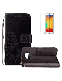 Funyye Strap Magnetic Closure Flip Case for Samsung Galaxy S8 Plus,Luxury Black Lucky Flower Four-Leaf Clover Pattern Folio Wallet Case Stand Function with Credit Card Holder Slots Soft Silicone PU Leather Case for Samsung Galaxy S8 Plus,Full Body Shockproof Non Slip Smart Shell Protective Case for Samsung Galaxy S8 Plus + 1 x Free Screen Protector