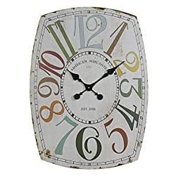 VIPSSCI 27 Wall Clock Charming Vintage Oval Shaped Wall Mounted Multicolored Clock