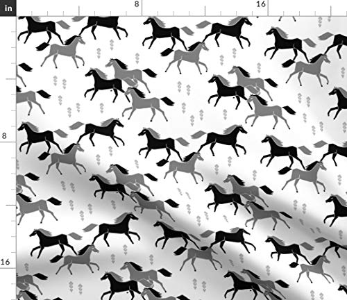 Spoonflower Horse Fabric - Horse Black and Grey Black and White Horses Western Texas Running Horses by Andrea Lauren Printed on Petal Signature Cotton Fabric by The ()