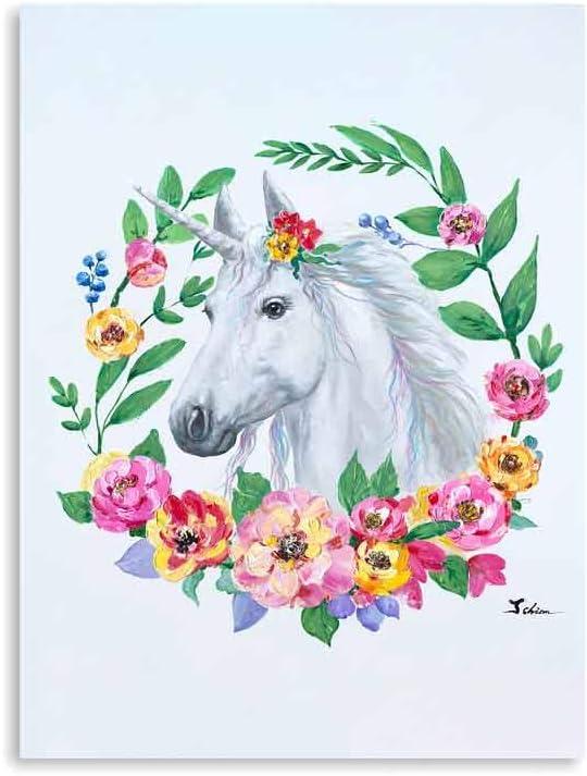 """B BLINGBLING Unicorn Wall Art for Girls Bedroom: Flower Unicorn Picture Painting Poster Wall Decor Framed for Teen Girls Room (12""""x16""""x1Panel)"""