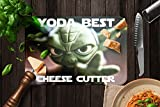 YODA THE BEST CHEESE CUTTER! - FUNNY WINE SAYINGS GLASS CHEESE BOARD