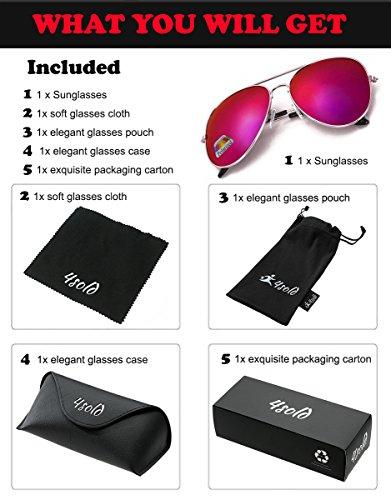 Purple de Aviador de con caso conducción Protección gafas UV el Hombre 400 sol polarizado 4sold nRqc1wY6n