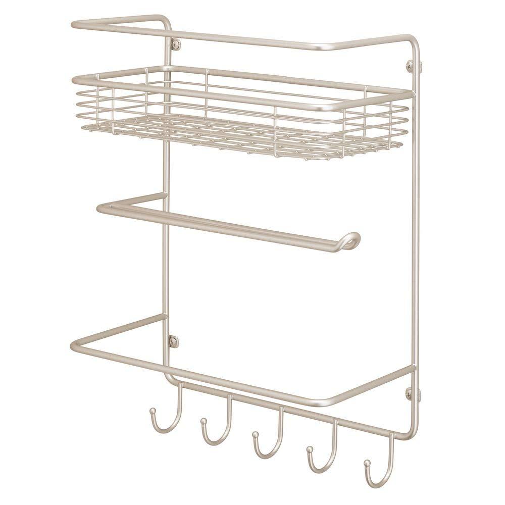 Vers/átil estanter/ía de pared met/álica para cocina o despensa negro Organizador de pared con cesta grande en alambre de metal y 4 ganchos para colgar mDesign Pr/áctico portarrollos de cocina
