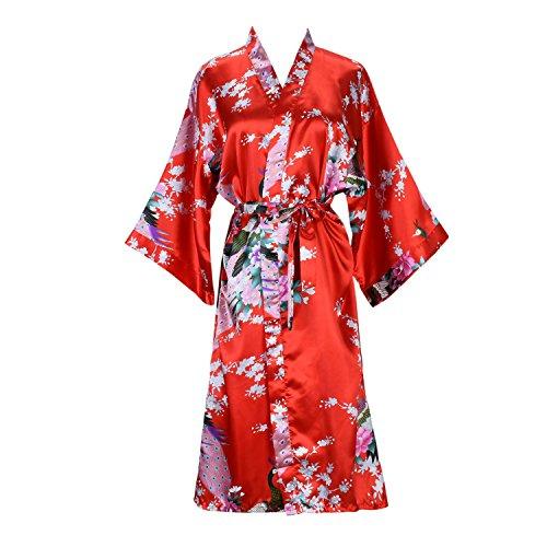 - ellenwell Women's Kimono Robe Peacock & Blossoms Satin Nightwear Long(Medium,Red)