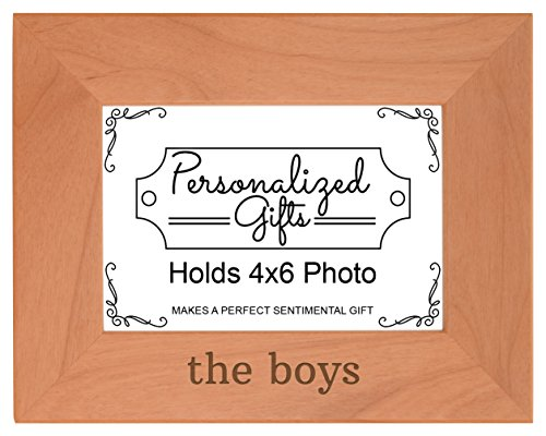 Personalized Gifts Brothers Gift The Boys Father Son Gift Natural Wood Engraved 4x6 Landscape Picture Frame Wood