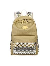"Artone Diamond Stripe Dots Canvas Backpack With Laptop Compartment Fit 15"" Laptop Khaki"