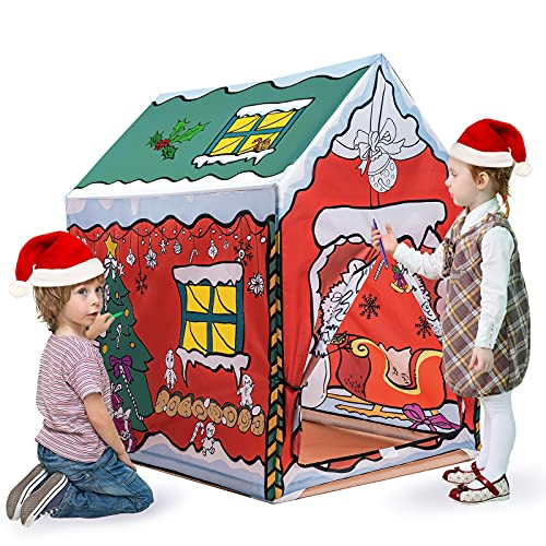 Christmas Painting Playhouse Tent, Graffiti DIY Art Craft Coloring and Drawing Doodle, Washable Fort Fun Indoor Outdoor Gift Xmas for Kids Girls Boys