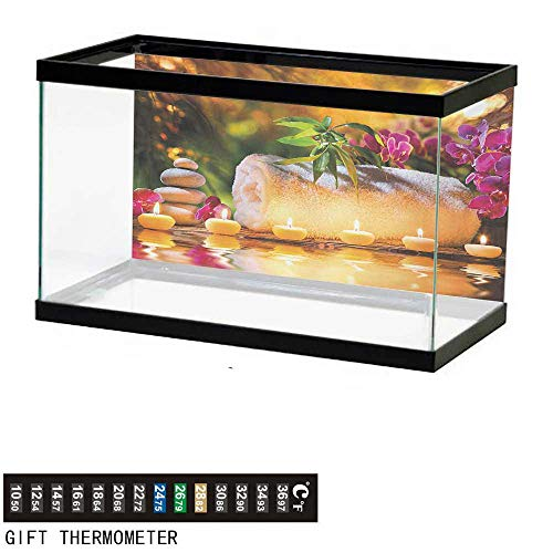 wwwhsl Aquarium Background,Spa,Asian Classic Spa Day Joy in The Garden with Romantic Candles and Orchids,Purple White and Green Fish Tank Backdrop 30