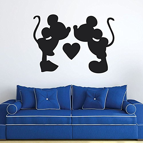 Disney Wall Decals Mickey and Minnie Vinyl Wall Art for Preschool, Home, or Child Care Center (Cartoon Character Couples)