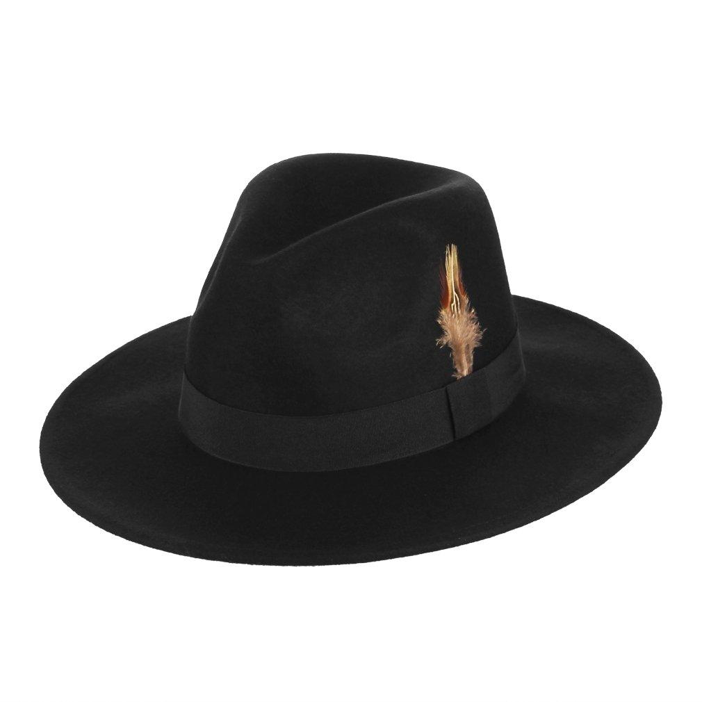 GEMVIE Sombrero de Fedora Hombre Lana Trilby Hat Fiesta Boda Noche con Plumas  Circunferencia 58cm Negro  Amazon.es  Ropa y accesorios cc7c9b758d3