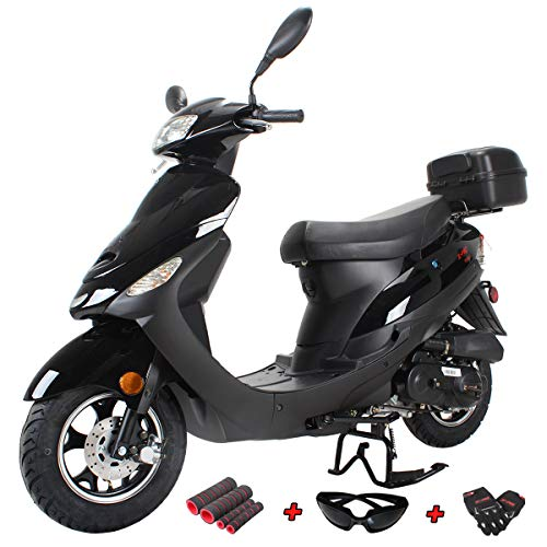 X-PRO 50cc Moped Scooter Gas Moped Scooter 50cc Moped Street Scooter with Gloves, Google and Handgrip,Black