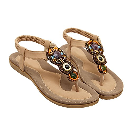 Thong 798 Beads Dress Bohemian Beach Gladiator fereshte Apricot Sandals No Women's Flip Flat Flop 7zYqRw