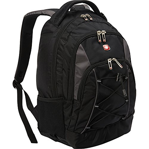 SwissGear Travel Gear Bungee Backpack (Black/Grey) - Dimensions 17.5 x 11.5 x 7.5 inches