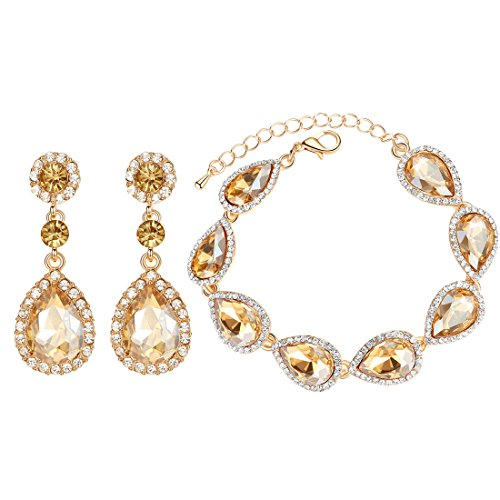 Flower Teardrop Austrian Champagne Crystal Jewelry Sets for Women or Wedding (1 Set Earring,1PCS Bracelet)