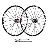 Mountain Bike Wheelset – Double Wall MTB Rim Brake 24H Disc/V-Brake Quick Release in Black Disc 7/8/9/10 Speed   Front Rear Wheel