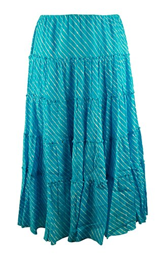 Lauren Ralph Lauren Women's Plus Size Striped Tiered Skirt-TOW-3X
