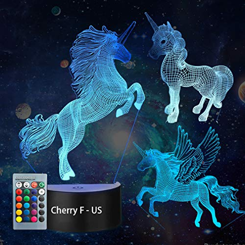 - 3D Unicorn Night Light--3D Unicorn Lamp Three Pattern and 7 Colors with Remote 3D Optical Illusion Kids Lamp as a Pefect Gifts for Boys and Girls on Birthday or Holiday (Unicorn)