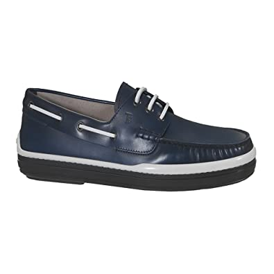 Men's XXM0YR0P600BRXU803 Blue Leather Loafers