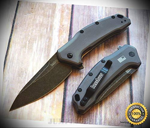 'LINK'' BLACK WASH SERIES SPRING ASSISTED POCKET SHARP KNIFE ''MADE IN USA'' - Premium Quality Hunting Very Sharp EMT EDC