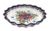 Polish Pottery Floral Butterfly Fluted Quiche Dish