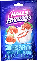 Halls Breezers Throat Drops, (Creamy Strawberry, 25 Drops)