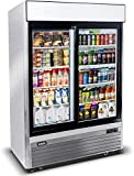 Beverage Refrigerator - Commercial Stainless Steel Display Undercounter Beverage Cooler with 2 Sliding Glass Doors for Restaurant, Club - Upright Beer Fridge 44.8 Cu.Ft. (33°F - 38°F)