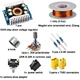 A Suit Kit - Step Down Reduction Voltage Converter 100W,XT60 Connector, 20K Potentiometer Linear,6.8k Ohm Resistors,Magnet Wire Enameled Copper Wire,camera shoe adapter (1x Full Suit Kit)