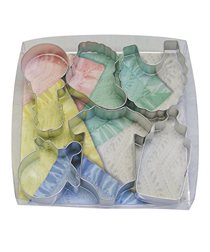 R&M International 1812 Baby Shower and Party Cookie Cutters, Bodysuit, Bottle, Pacifier, Bootie, Bib, Rattle, 6-Piece -