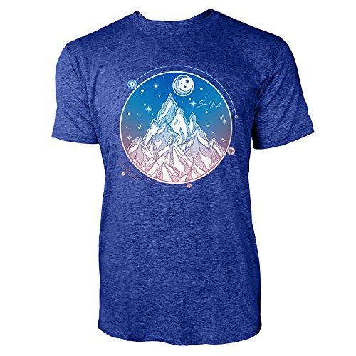 SINUS ART ® Handgemaltes Gebirge bei Nacht Herren T-Shirts in Vintage Blau Cooles Fun Shirt mit tollen Aufdruck